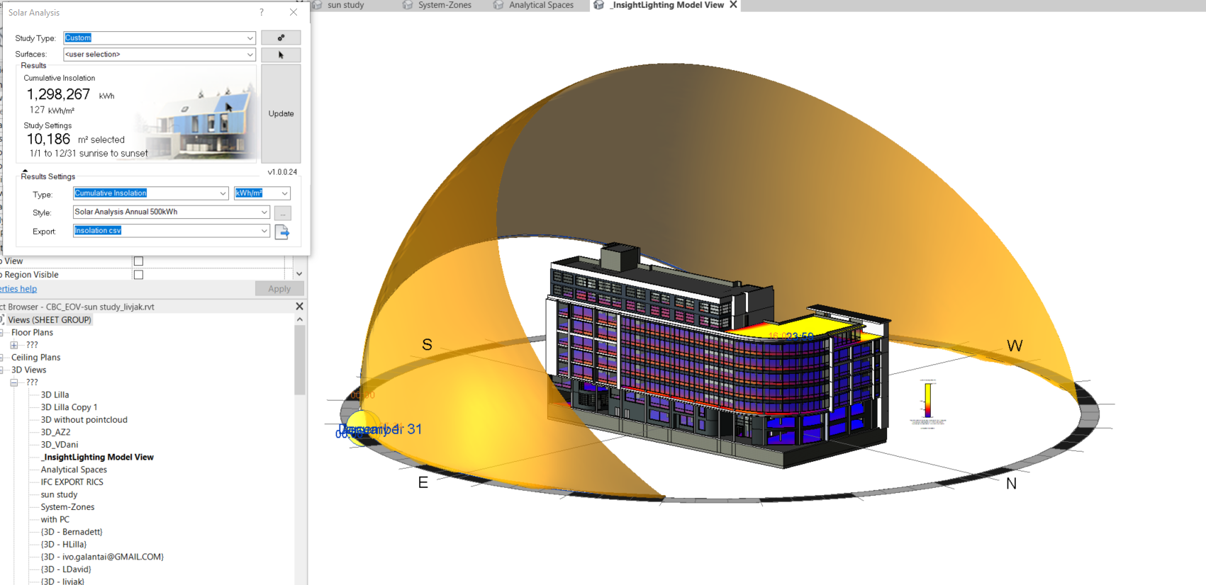 Analysis of solar radiation of CBC office building (BuildEXT HQ)